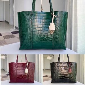 tory burch TB crocodile print PERRY triple compartment tote shopping bag