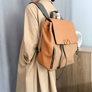 VALENTINO official website new leather color matching large backpack