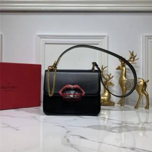 Valentino new red lips VSLING calfskin shoulder bag