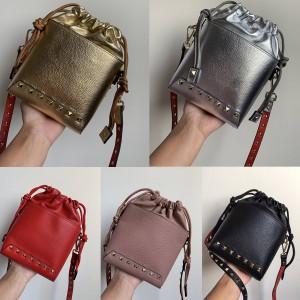 Valentino official website new rivet bag mini bucket bag