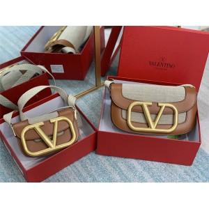 Valentino new canvas and leather SuperVee organ crossbody bag