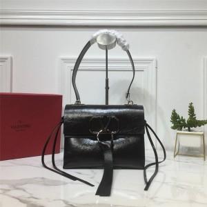 Valentino handbags new VRING cracked leather shoulder bag