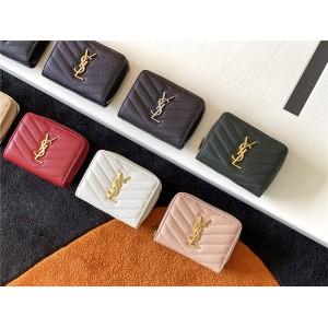 Saint Laurent YSL MONOGRAM Caviar Quilted Leather Short Zip Wallet 403723