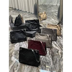 Saint Laurent YSL NIKI medium pleated leather shopping bag 577999