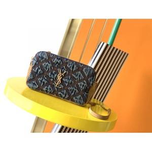 Saint Laurent YSL BECKY double zipper quilted denim clutch chain bag 608941