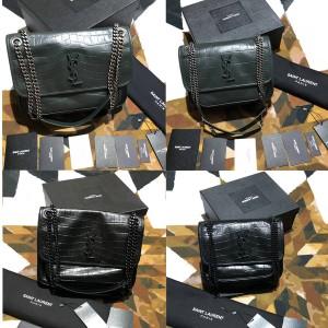 ysl Saint Laurent NIKI Crocodile Embossed Leather Handbag Bag 548942/633151