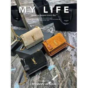 ysl Saint Laurent suede sunset handbag organ bag 422906
