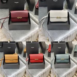 YSL Saint Laurent MAILLON Smooth Leather Crossbody Shoulder Bag 649795