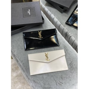 ysl Saint Laurent UPTOWN shiny smooth leather clutch 565739