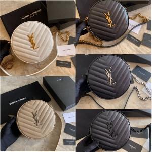 Saint Laurent YSL VINYLE V-shaped quilted leather round camera bag 610436
