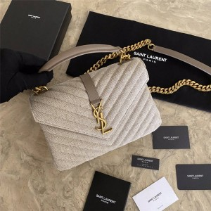 Saint Laurent YSL COLLEGE Medium Quilted Canvas Handbag Messenger Bag 600279