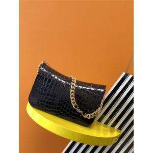 Saint Laurent YSL ELISE Crocodile Embossed Patent Leather Shoulder Bag 640290