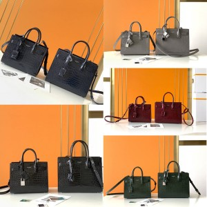 ysl Saint Laurent SAC DE JOUR crocodile pattern leather handbag 392035/421863