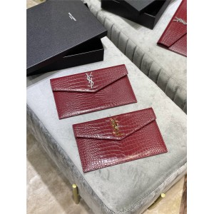 ysl Saint Laurent UPTOWN crocodile embossed shiny leather clutch 565739