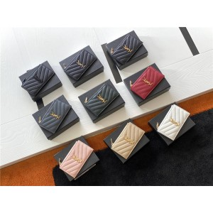 ysl Saint Laurent MONOGRAM FRAGMENTS grain leather zipper card holder 607915