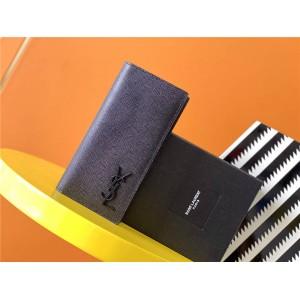 YSL Saint Laurent MONOGRAM grain embossed leather European wallet 529981