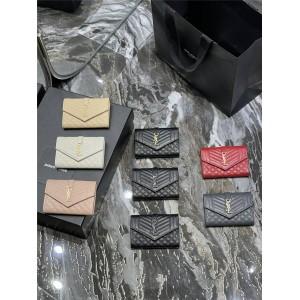 YSL Saint Laurent MONOGRAM Small MIX MATELASSÉ Grain Embossed Leather Envelope Wallet 651026