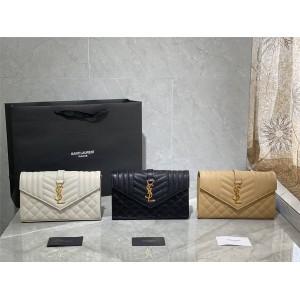 ysl Saint Laurent MONOGRAM MIX MATELASSÉ grain embossed leather chain wallet 620280