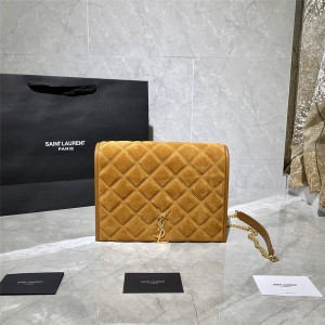 ysl Saint Laurent BECKY square quilted suede mini chain bag 629246