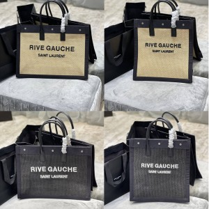 ysl Saint Laurent Rive Gauche Tote Woven Embroidered Shopping Bag 631682/509415