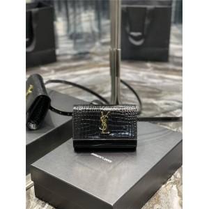 ysl Saint Laurent KATE crocodile embossed shiny leather belt bag 534395