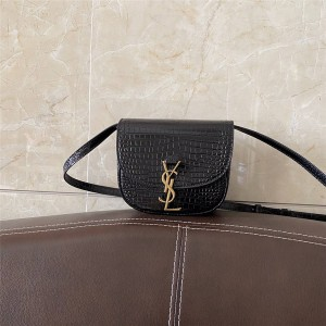 ysl Saint Laurent KAIA Small Shiny Crocodile Embossed Leather Shoulder Bag 619740