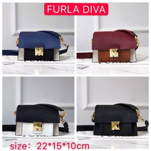 Furla new leather color matching Diva mini shoulder bag organ bag