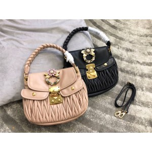 Miumiu handbag new crystal diamond buckle folds sheepskin handbag 5BC041
