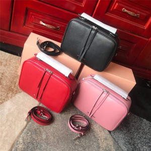 Miumiu handbag new goatskin double zipper handbag shoulder bag 5VT003
