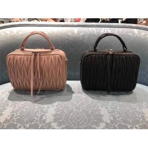 MiuMiu handbags new pleated lambskin double zipper handbag 5VT003