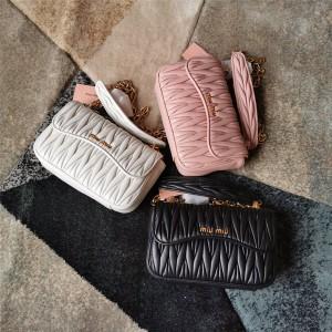 Miumiu handbags new pleated sheepskin chain bag 5BD140