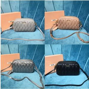 miumiu official website sheepskin double zipper mini camera bag 5BH539