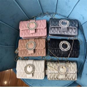 miumiu imitation crystal beaded ring diamond buckle sheepskin chain bag 5BH095
