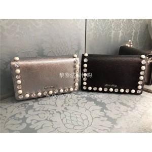 miumiu goatskin inlaid pearl and diamond DÉLICE crossbody bag 5BP001