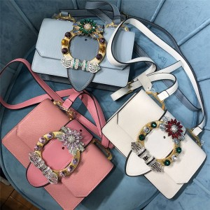 miumiu new goatskin crystal diamond buckle diagonal shoulder bag 5BH609